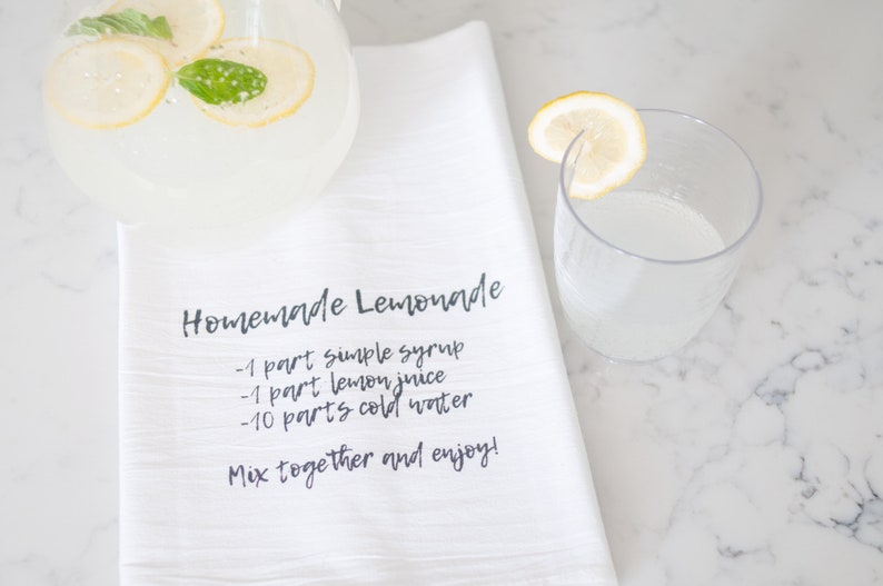 Homemade Lemonade Recipe Flour Sack Towel Farmhouse Kitchen image 0
