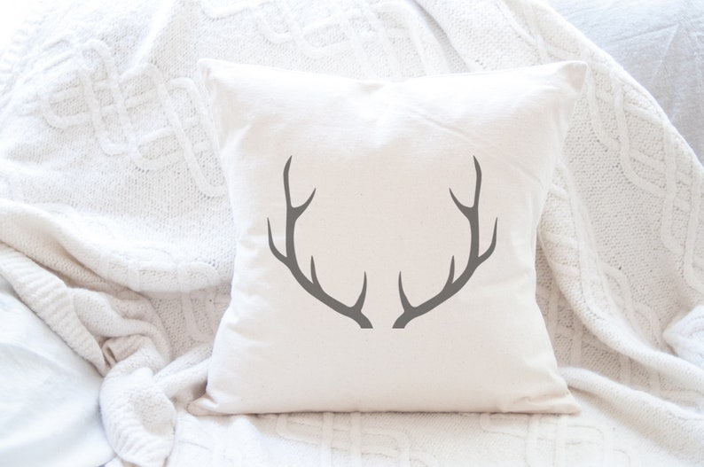Antlers Canvas Pillow 18x18 in cushion cover with insert image 0