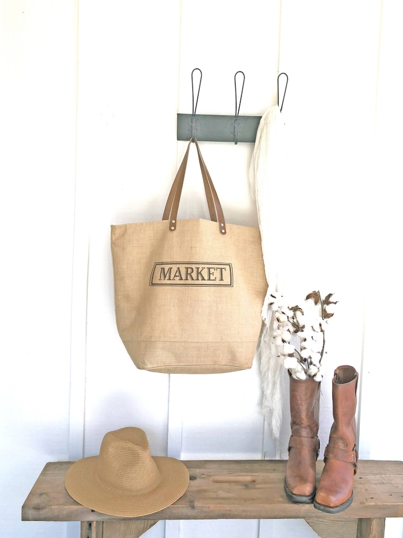 e2ebcbbe5807 Burlap Market Tote Bag With Zipper and Leather Straps