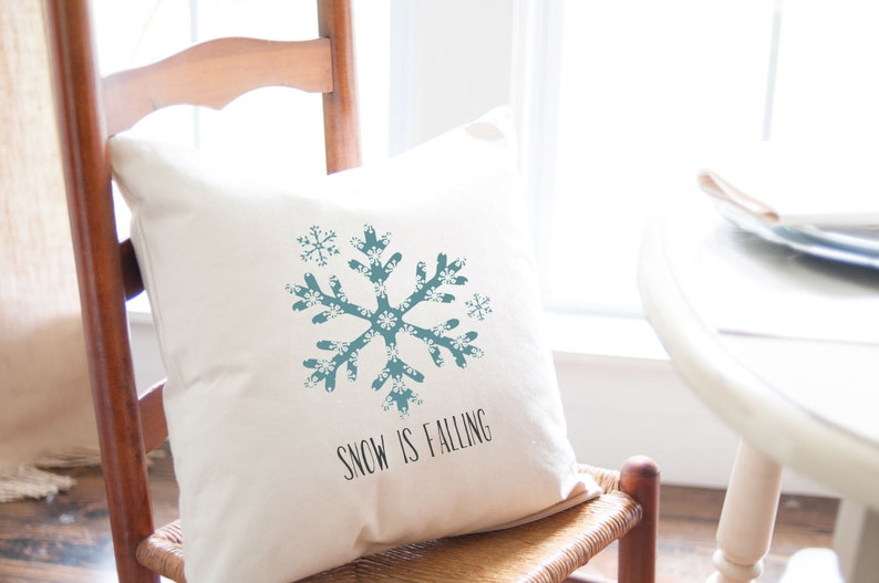 Snow is Falling Snowflake Pillow Cover Winter Decor 18 in x image 0