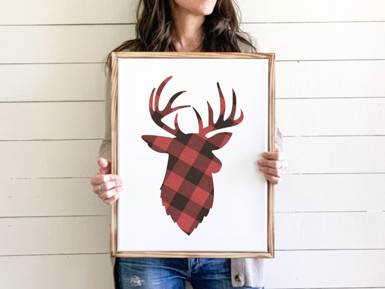 Red Buffalo Plaid Deer 14x18 or 9x12 Canvas Print Wall Art image 0
