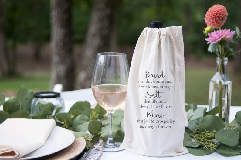 Hostess Gift Wine Gift Bag Housewarming gift Bread Salt Wine image 0