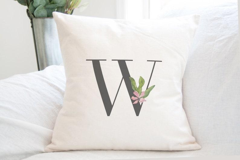 Watercolor Monogram Pillow Bridal Shower Gift for Bride image 0