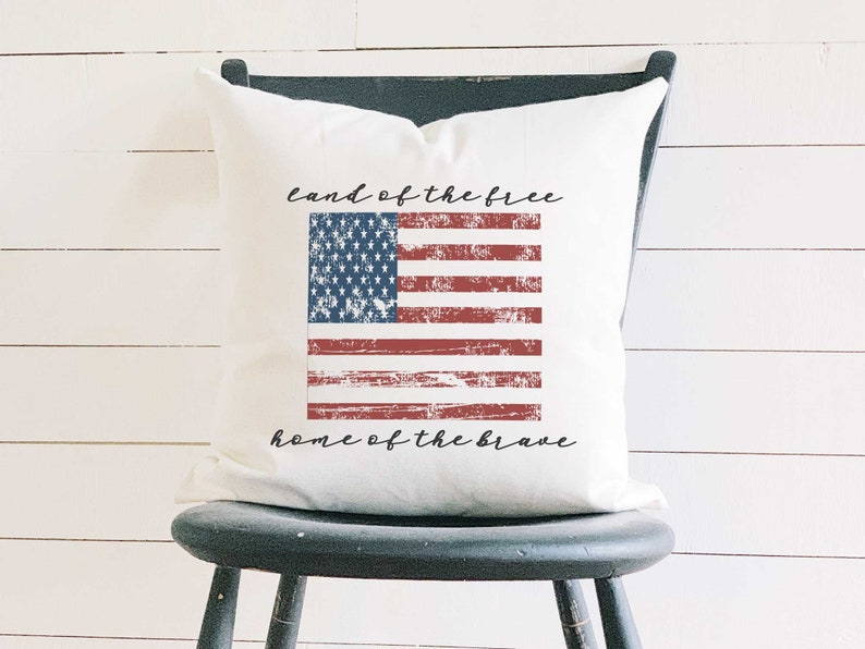 Vintage American Flag Quote Pillow Land of the Free Home of image 0