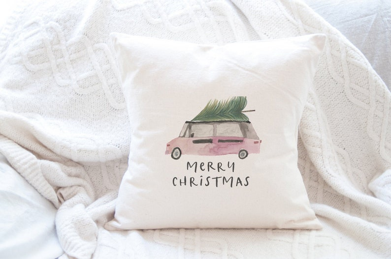 Merry Christmas Van With Tree Christmas Pillow Cover image 0