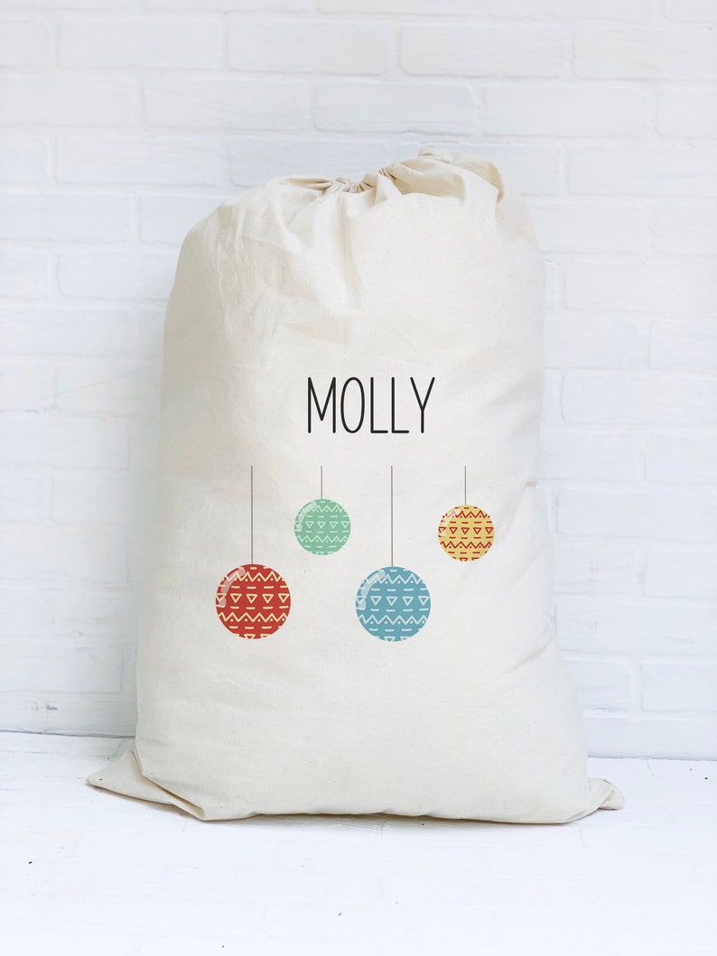 Personalized Santa Sack Ornaments Oversized Gift Bag Two image 0