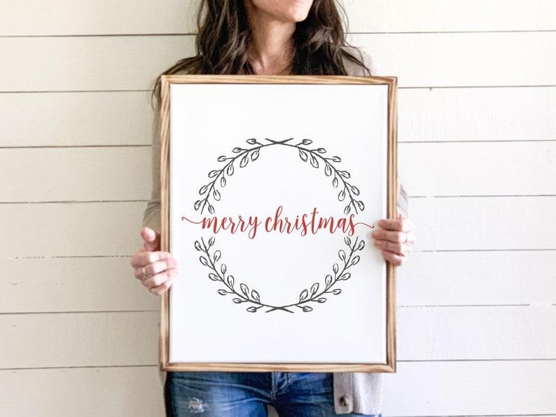 Merry Christmas Wreath Sign Canvas Print Christmas Wall Art image 0