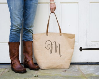 Personalized Tote Bag Gift for Her | Monogrammed Burlap Bag | Mothers Day Gift for Mom | Monogram Tote Bags | Custom Gift for Daughter