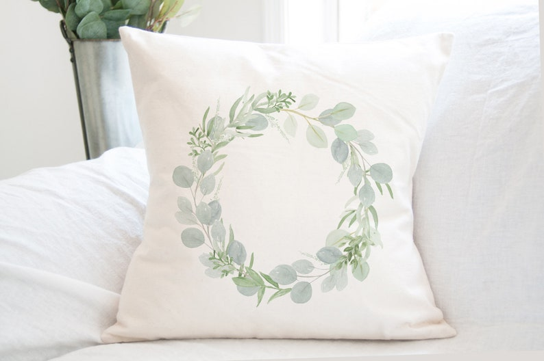 Watercolor Eucalyptus Wreath Pillow  Easter Pillow  Cotton image 0