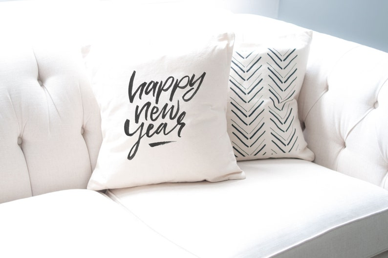 Cute Happy New Year Pillow Cover Holiday Decor 18 in x 18 in image 0