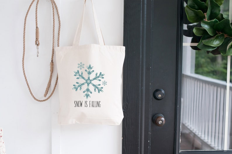 Snow is Falling Canvas Tote Bag Winter Holiday Gift for Her. image 0