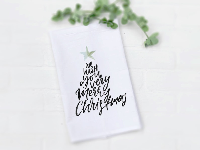 We Wish You a Merry Christmas Tea Towel Cute Hand Lettered image 0