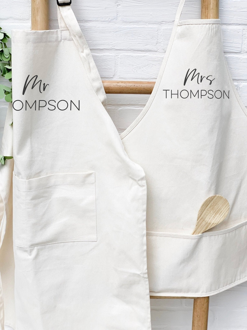 Personalized Couples Aprons Set Canvas Custom Apron for image 0