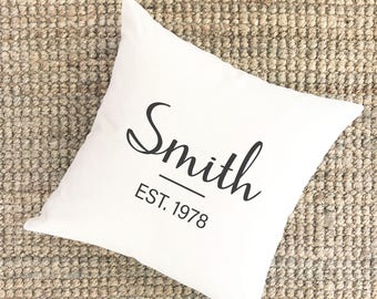 Unique Anniversary Gift for Husband | Cursive Last Name Pillow | Personalized Anniversary Gift for Husband | Fortieth Anniversary Gift