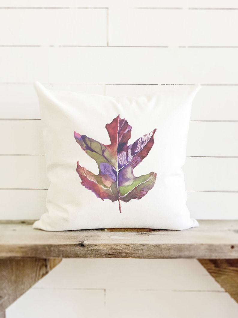 Watercolor Fall Leaf Pillow Thanksgiving Fall Decor image 0