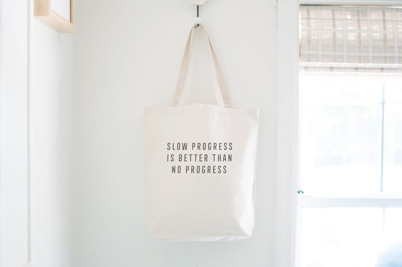 Progress Motivational Quote Canvas Tote Bag Gym Bag Gift for image 0