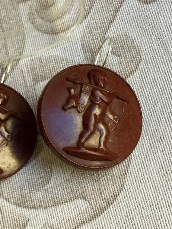 Antiques Victorian Style Mourning Cameo Earrings - image 2