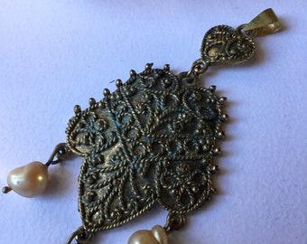 Antique Tribal Pendant Guilt Filigree and Baroc Pearls