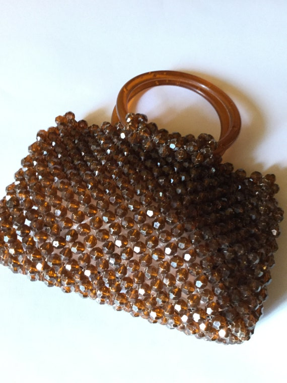 Vintage 1960 Acrylic Beads Bag Mary Quant Style