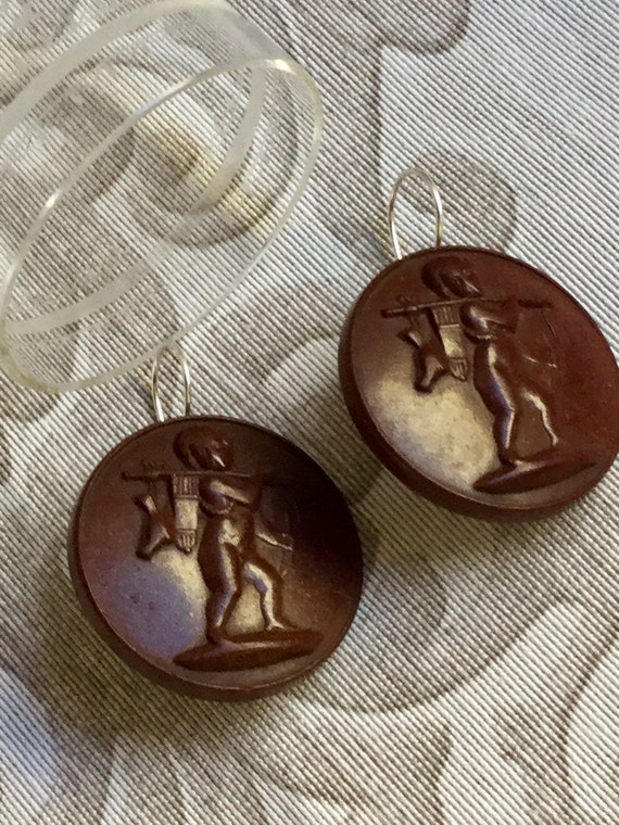 Antiques Victorian Style Mourning Cameo Earrings - image 1