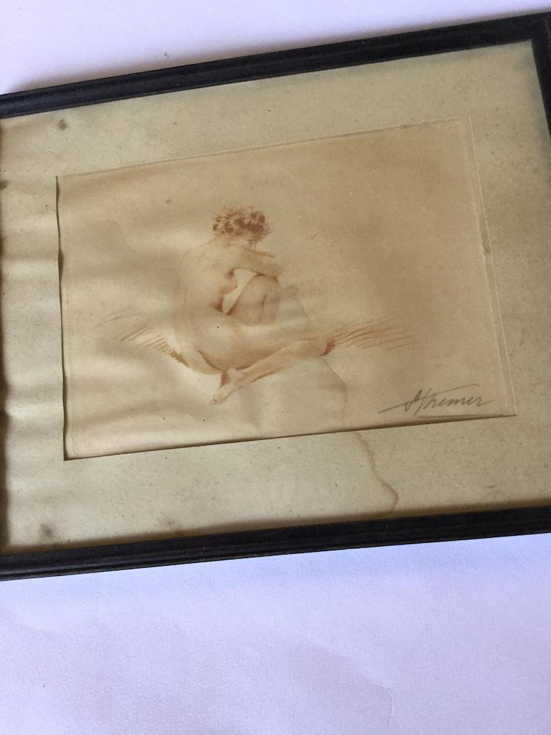 Antique 1935 Camilla Lucas Color Print Suzanne Meunier Pin Up Erotika