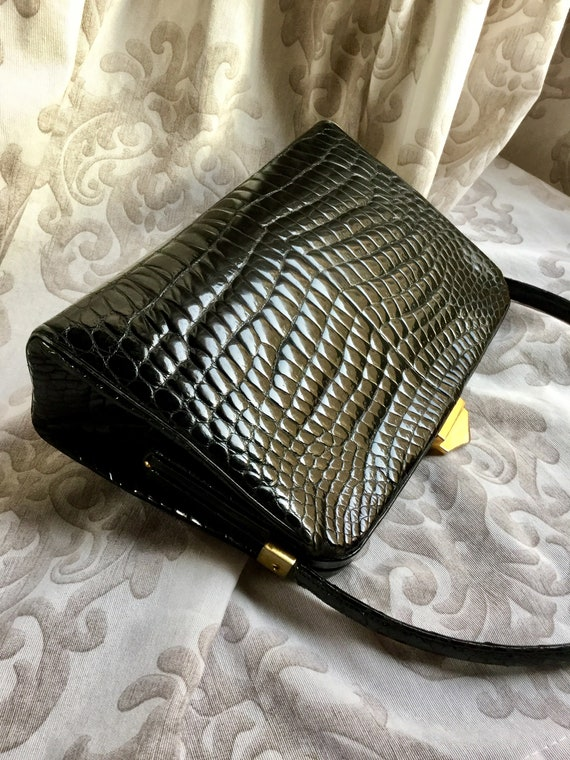 Vintage 1950s Black Leather Gold Clasp Kelly Bag