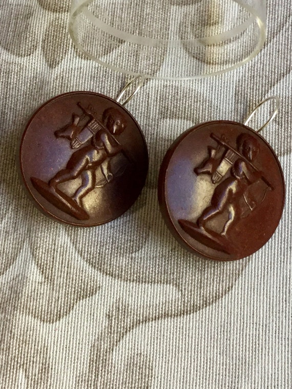 Antiques Victorian Style Mourning Cameo Earrings - image 4