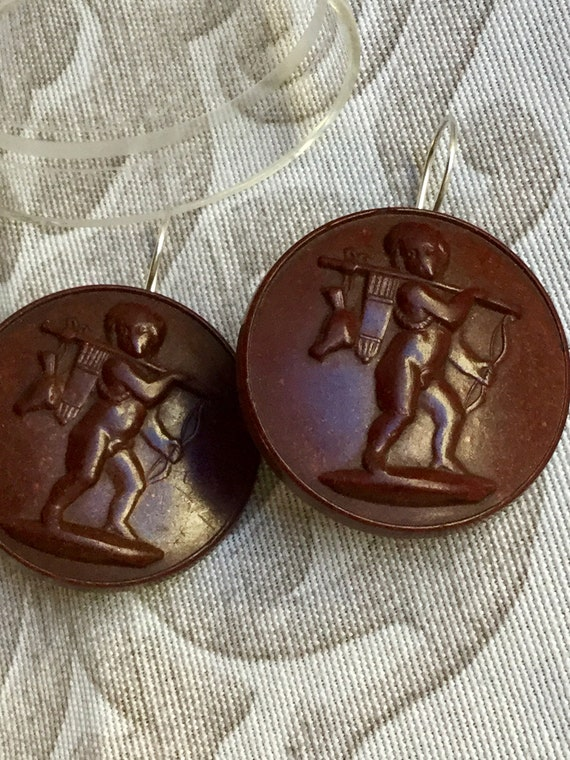 Antiques Victorian Style Mourning Cameo Earrings - image 3
