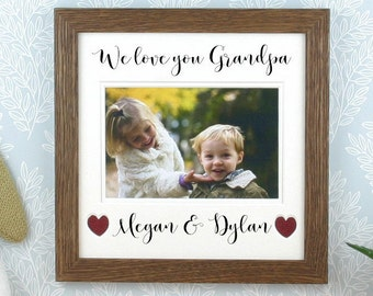 Grandfather gift, Personalised picture frame, Father's Day gift, We love you Grandad, Grandpa or any title, Holds a 4 x 6 photo.