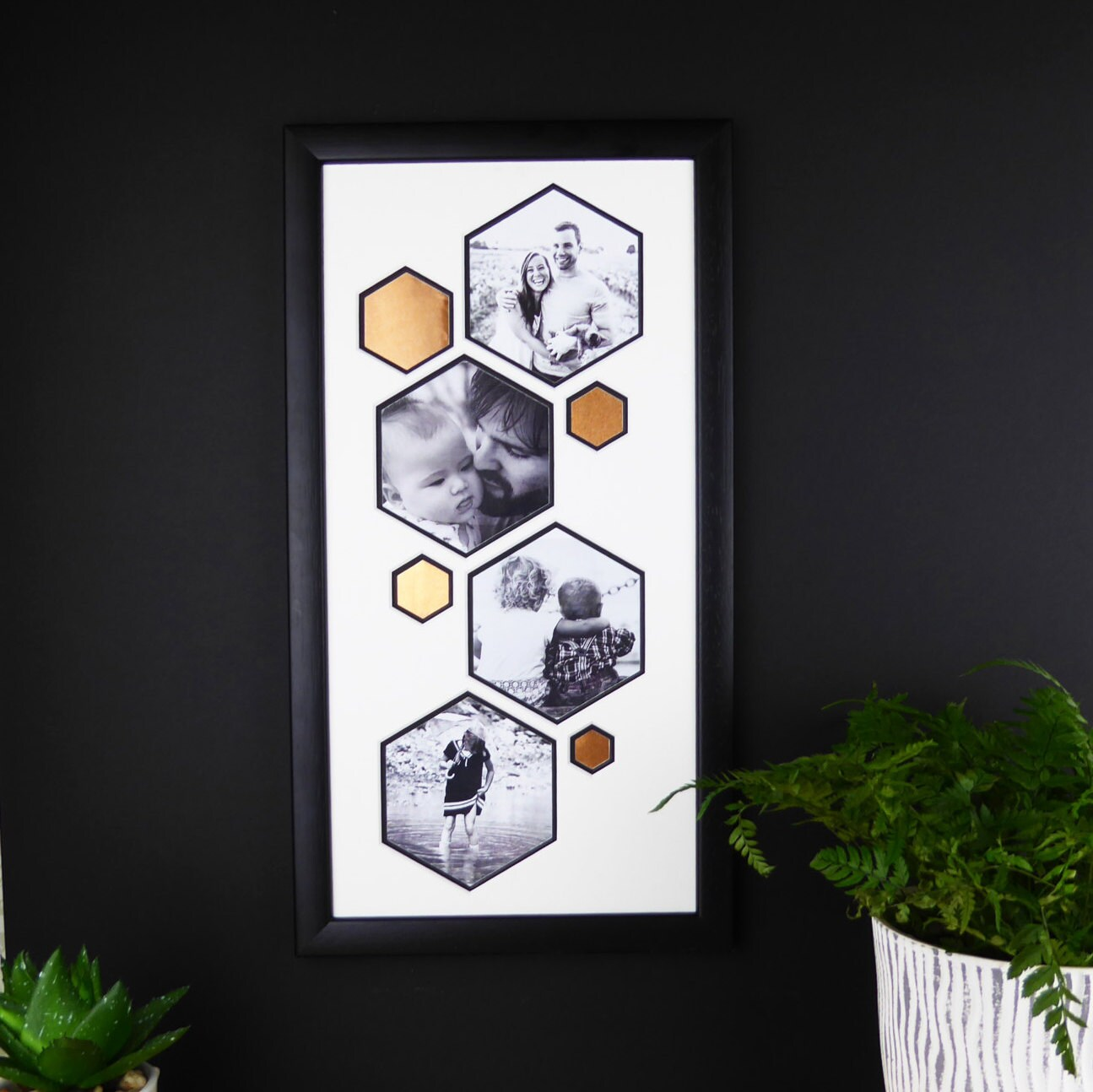 Kupfer Sechseck-Multi-Foto-Rahmen. Kupfer schwarz und weiß.   Etsy