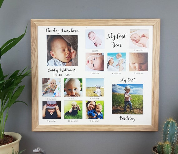 My First Year Personalised Oak Photo Frame First Birthday Etsy