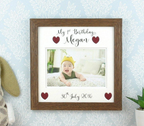 1st Birthday Gift Baby Picture Frame First Birthday Photo Etsy