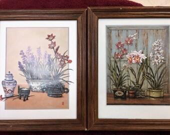 Set of Older Floral Watercolor Paintings
