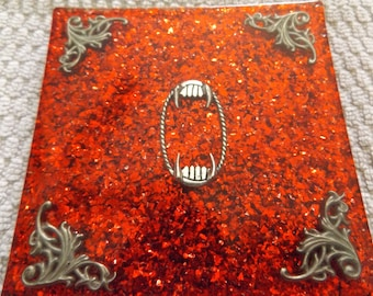 Handmade resin coaster red vampire teeth