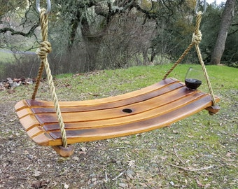 Wine Lovers SWING, Handcrafted Swing, Wine Barrel Décor,Home Décor Wine Lover Gifts