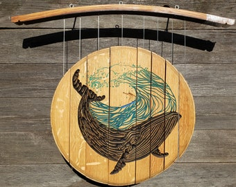 Whale/Wave/Surfer wind Chime