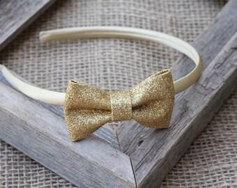 b3efe34bf61f Gold hard headband gold glitter bow headband plastic headband sparkle bow  girls headband birthday adult toddler