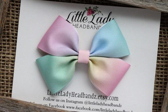 Unicorn handmade hair bow girls rainbow pastel colourful bow