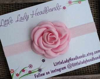 Light pink headband baby headband rose headband - toddler headband girls headband first birthday