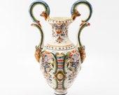 Beautiful French Hand Painted Porcelain Amphora Vase