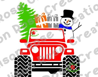 Christmas Jeep SVG, PDF, JPEG