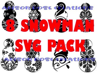8 SNOWMAN SVG FILES