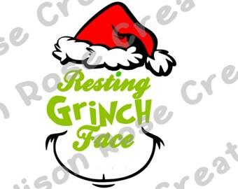 Resting Grinch Face Svg Pdf Jpeg All Free Mockup Template Psd Ai