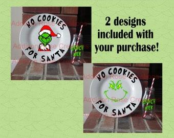Grinch Cookie Plate SVG, PDF, JPEG