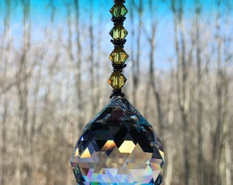 30mm Sun catcher drop crystal, Windows ornaments, House warming gifts, Window prisms, Large crystal, Clear, Yellow, Hanging crystal, Drop,
