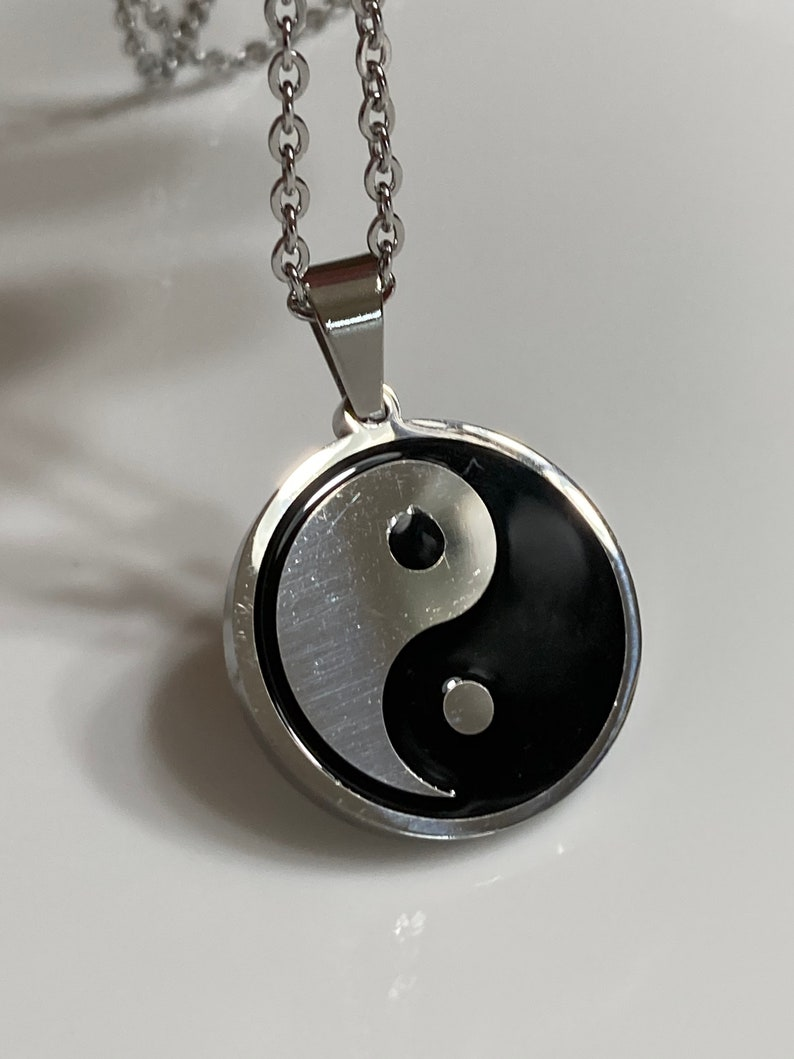 Yin yang silver necklace Plus minus korean symbol Stainless steel jewelry Black white Mens jewelry Gift for dad Unisex jewelry