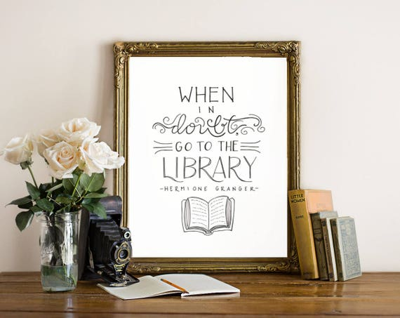AuBergewohnlich When In Doubt Go To The Library // 8 X 10 / Harry Potter / | Etsy