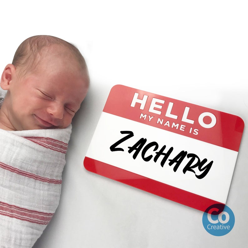 Baby Shower Gift Newborn Photo Prop Hospital Announcement Sign Birth Announcement Sign Hello My Name Is Sign acrylic whiteboard