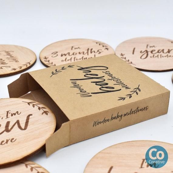 Newborn set of 14 cards Baby Shower Gift Baby Monthly Milestone Wooden Card