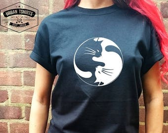 CAT YIN YANG T shirt  /   Premium Quality ! - Made in London / Fast Delivery to the Usa , Canada , Australia & Europe !